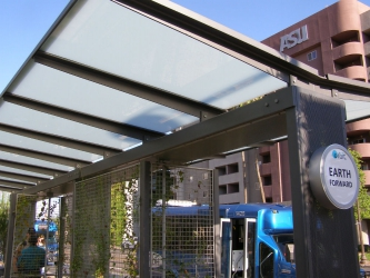 Tempe Bus Shelters with Milk Laminated Glass