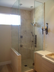 Frameless Shower Enclosure with Oil Rubbed Bronze Fittings