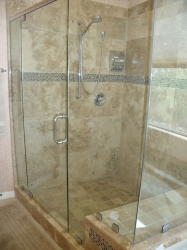 Frameless Shower Enclosure with Brushed Nickel Fittings